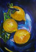 3 lemons on blue