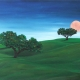 """Landscape with moon"" oil painting Bogomo"
